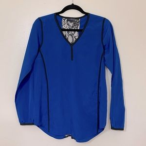 The Limited Blue V Neck long Sleeve Blouse With lace Cutout On Back S